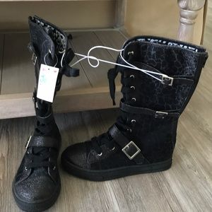 Justice tall black sparkle buckle zip boots
